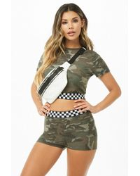 Forever 21 - Textured Camo Checkered-waist Shorts - Lyst