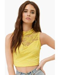 Forever 21 - Sheer Floral Lace Crop Top , Yellow - Lyst