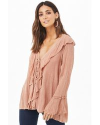 Forever 21 - Flounce Lace-up Top - Lyst
