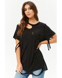 Forever 21 - Distressed Longline Tee - Lyst
