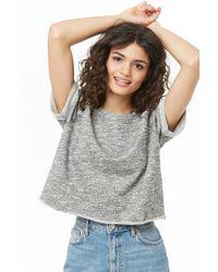 68b14051c0999 Lyst - Forever 21 Women s French Terry Raglan Sweatshirt in Metallic