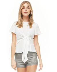 Forever 21 - Tie-front Chiffon Top - Lyst