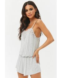 Forever 21 - Women's Floral Lace-trim Camisole Top Playsuit - Lyst