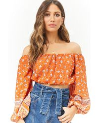 Forever 21 - Women's Floral Ornate Off-the-shoulder Peasant Crop Top - Lyst