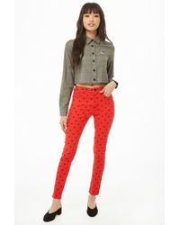 Forever 21 - Mickey Mouse Print Skinny Trousers - Lyst