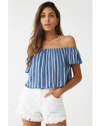 fb2a1449f30 Forever 21 Metallic Off-the-shoulder Top in Metallic - Lyst