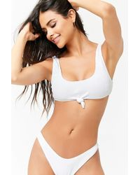 Forever 21 - Ribbed Knot-front Bikini Top - Lyst