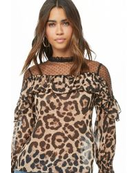 Forever 21 - Dotted Mesh & Cheetah Print Top - Lyst