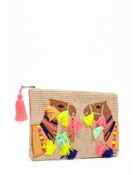 Forever 21 - Tasseled & Embroidered Camel Clutch - Lyst