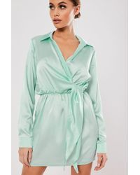 Missguided - Surplice Satin Dress At - Lyst