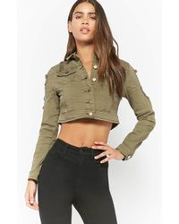 Forever 21 - Cropped Distressed Denim Jacket - Lyst