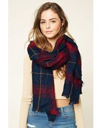 Forever 21 | Frayed Plaid Oblong Scarf | Lyst