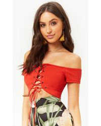 ed95e71296e046 Forever 21 - Lace-up Off-the-shoulder Crop Top - Lyst