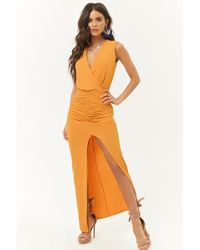 Forever 21 - Ruched Surplice Maxi Dress - Lyst