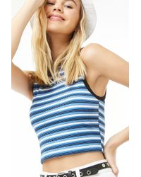 37c0716700b44 Forever 21 - Women s Striped Cropped Tank Top - Lyst