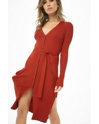 20535ed845 Forever 21 - Ribbed Sweater Dress - Lyst