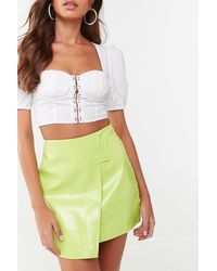 Missguided - Faux Croc Mini Skirt At , Lime - Lyst