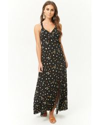 a7b096446ad8 Lyst - Forever 21 Sheer Embroidered Geo Cutout Maxi Dress in Black