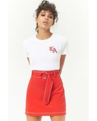 b1a8e6afa5 Forever 21 - Belted Subtle A-line Mini Skirt - Lyst