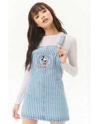 Forever 21 - Striped Mickey Mouse Denim Dungarees Dress - Lyst