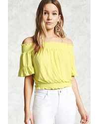 45dc3346ff8816 Lyst - Forever 21 Satin Off-the-shoulder Top in Pink
