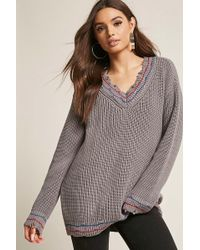 Forever 21 - Distressed Stripe Sweater - Lyst