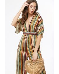 32717035c23a Lyst - Forever 21 Striped Dolman Jumpsuit in Blue
