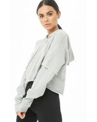 Forever 21 - Raw-cut Cropped Hoodie - Lyst