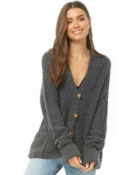 Forever 21 - Hooded Fuzzy Popcorn Knit Cardigan - Lyst dc33a893c