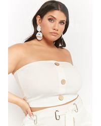 d155c62779ec40 Forever 21 Women s Plus Size Button-accent Tube Top in Black - Lyst