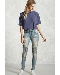 Forever 21 - Distressed Moto Skinny Jeans - Lyst