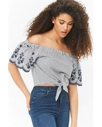 be9f9f186191b Forever 21 Plus Size Floral Gingham Off-the-shoulder Top in Pink - Lyst