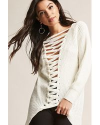 Forever 21 - Plunging Lace-up Jumper - Lyst