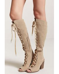 Forever 21 - Faux Suede Lace-up Boots - Lyst