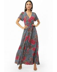 Forever 21 - Floral Print Surplice Maxi Dress - Lyst