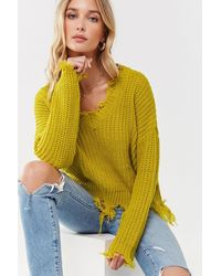 Forever 21 - Distressed Knit Sweater , Citron - Lyst