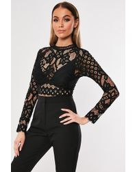 Missguided - Eyelash Lace Top At - Lyst