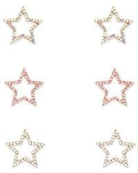 Forever 21 Rhinestone Star Stud Earring Set , Gold/clear