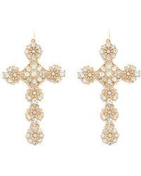 Forever 21 Ornate Cross Pendant Earrings Lyst