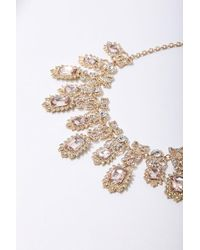 Forever 21 - Faux Gem Statement Necklace , Gold/peach - Lyst