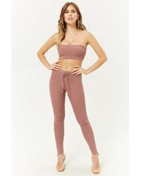 9b0d98b2c2780 Forever 21 - Ribbed Crop Top   Leggings Set - Lyst