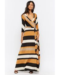 13b3987c755 Lyst - Forever 21 Striped Strappy-back Maxi Dress in Black