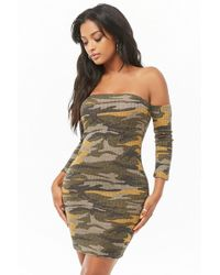 Forever 21 - Women's Camo Off-the-shoulder Bodycon Dress - Lyst