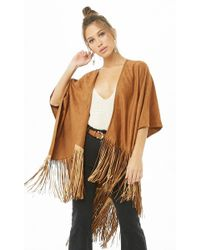Forever 21 - Faux Suede Fringe Poncho - Lyst