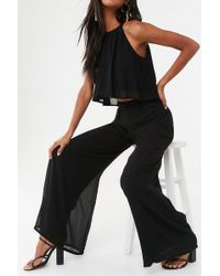 Forever 21 Pleated Crop Top & Palazzo Pant Set , Black
