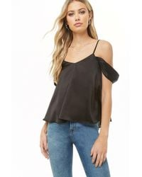 55cc11a468 Lyst - Forever 21 Faux Leather Peplum Tube Top in Black