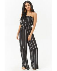 f8a901e6ffe6 Lyst - Forever 21 Strapless Pleated Jumpsuit in Black