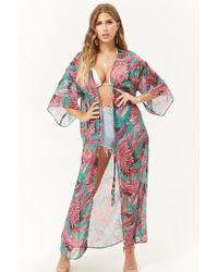 Forever 21 - Sheer Multicolor Palm Leaf Kimono - Lyst