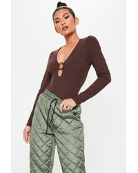 Missguided Chocolate Ring Detail Ribbed Bodysuit