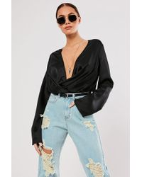 Missguided - Plunging Cowl Bodysuit At - Lyst